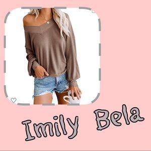 🆕Imily Bela Waffle Knit V-neck (83)🔴